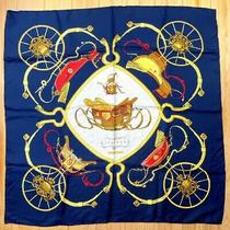 Auth Hermes Scarf Carre 90 Cm 100% Silk Springs Navy France From Japan by Dhl Photo