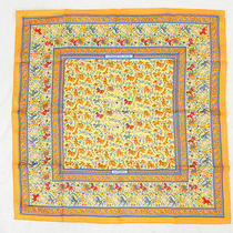 Auth Hermes Scarf Chasse en Inde Carre Silk Hunting Orange 27120008800 4245 Photo