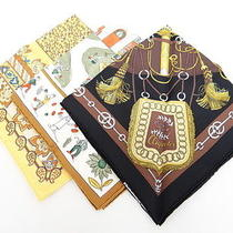 Auth Hermes Scarf Mini Carre Handkerchief Set Re Tour a Laterre 26120016600 4237 Photo