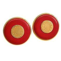 Auth Hermes Sellier Clip Earrings Leather/metal Red/gold (Bf101664) Photo