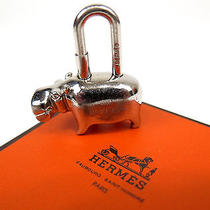 Auth Hermes Silver Tone 2005 Hippopotamus Cadena Lock Key Ring Holder W/box Photo