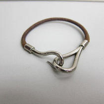 Auth Hermes Silver Tone Brown Leather Bracelet  - Mprs B630 Photo
