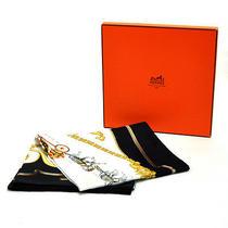 Auth Hermes the Royal Mews Scarf Bandana White/gold/black 100% Silk - E01115 Photo