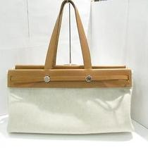 Auth Hermes Toile H Leather Her Bag Cabas Shoulder Bag Totebag Off-White Photo
