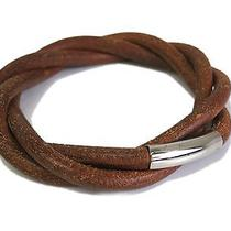 Auth Hermes Tornado Bracelet Leather Brown(bf036881) Photo