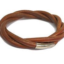 Auth Hermes Tornado Bracelet Leather/metal Brown(bf065775) Photo