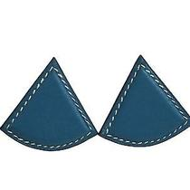 Auth Hermes Triangle Clip Earrings Veau Gulliver Blue (Bf101090) Photo