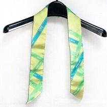 Auth Hermes Twilly Yellowgreen Green Blue Scarf Photo