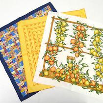 Auth Hermes Women's 100% Silk 3 Set Pocket Chief Blue Orange Fruit 25110031700 7 Photo