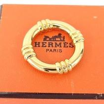 Auth Hermes Women's Accessory Scarf Ring Gold Tone Pendant Top 25110135800 7 Photo