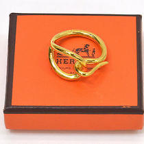 Auth Hermes Yellow Gold Plated Women's Scarf Ring Accessory Box Photo