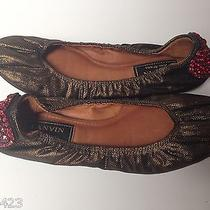Auth Lanvin Leather Bronze Metallic Ballet Flat Red Crystal Heart Size 36.5  Photo