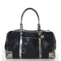 Auth Lanvin Purple Metallic Silver Leather Trim Medium Tote Satchel Handbag Photo