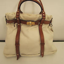 Auth Lanvin White Leather With Brown Trim Kentucky Tote Shopper  Photo