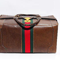Auth Large Brown Leather Gucci Doctors Briefcase Luggage Bag Train Case Vintage  Photo