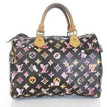Auth Louis Vuitton Brown Monogram Canvas Aquarelle 30cm Speedy Handbag Photo