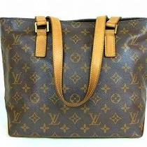Auth Louis Vuitton Cabas Piano Monogram Canvas Leather Tote Shoulder Bag Purse  Photo