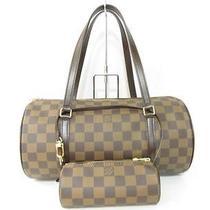 Auth Louis Vuitton Damier Canvas Papillom 30 Handbag Drum Bag Pouch Photo