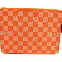 Auth Louis Vuitton Damier Couleur Leather Element Clutch Bag Orange Photo