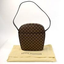 Auth Louis Vuitton Damier Ebene Ipanema Gm Shoulder Bag Brown Leather - E01275 Photo
