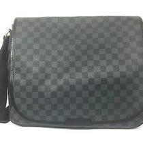 Auth Louis Vuitton Damier Graphite Daniel Gm Shoulder Bag Black Photo