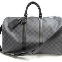 Auth Louis Vuitton Damier Graphite Keepall Bandouliere 45 Travel Bag Photo