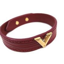 Auth Louis Vuitton Essential Bracelet v Epi Leather Fuchsia M6217f (Bf113616) Photo