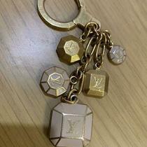 Auth Louis Vuitton Lv Porte Cles Cabochon Gold Pink Bag Charm Key Chain Key Ring Photo