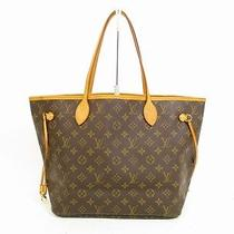 Auth Louis Vuitton Monogram Leather Brown tote&shoppers Bag Neverfull Mm 4604 Photo