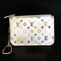 Auth Louis Vuitton Monogram Multicolor Clef Key Ring Case Blanc M93734 Est4008 Photo