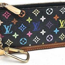 Auth Louis Vuitton Monogram Multicolor Pochette Cles Black Coin Case Lv 99278 Photo