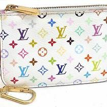 Auth Louis Vuitton Monogram Multicolor Pochette Cles White Coin Case Lv 99350 Photo