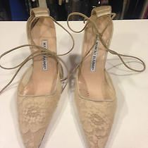 Auth Manolo Blahnik Ivory Lace and Lace Up Wedding Shoes Size 37 Photo