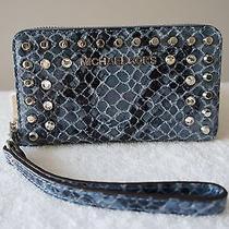 Auth Michael Kors Purse Jewel Stud Python Embossed Cell Iphone Case Bag Wristlet Photo
