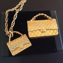 Auth Mint Chanel Quilted Cc Bag Charm Set Necklace  Photo