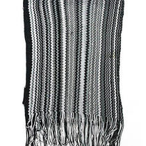 Auth Missoni Orange Label Foulard Black White Stripe Print Scarf Photo