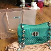Auth Miu Miu by Prada Blue Green Aqua Jewel Handbag Clutch 2012 Photo