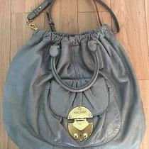 Auth Miu Miu Grey 2 Way Leather Hobo Shoulder Tote Bag Sz L Photo
