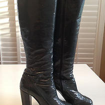 Auth. Miu Miu Prada Gray Brogue Patent Leather Tall Zip Boots Sz 40 Photo