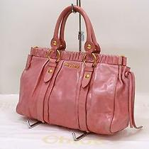 Auth Miu Miu Women's Gathered Leather Tote Shoulder Bag Pink Italy Photo
