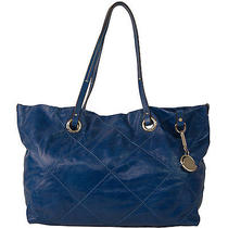Auth Moncler Adelaide Electric Blue Diamond Stitched Leather Shopping Bag Tote Photo