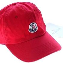 Auth Moncler Red Cotton Logo Ball Hat Cap Unisex Photo