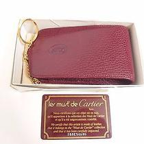 Auth Must De Cartier Burgundy Leather Pouch Cigarette Multi Case With Key Ring  Photo