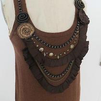 Auth. Nanette Lepore Vanity Brown Merino Wool Tunic Sleeveless Sweater Dress M Photo
