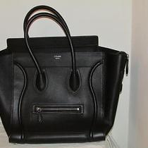 Auth New Celine by Phoebe Philo Mini Luggage Tote Bag Drummed Calf Leather Black Photo
