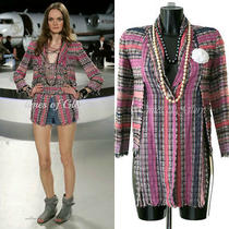 Auth New Chanel Coco Pink Navy Silk Tweed Boucle Jacket Blazer Size Fr38 Us4 Uk8 Photo