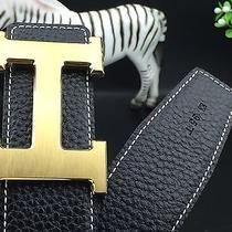 Auth New Hermes  Gold & Silver-Double Plate H Buckle Men's Belt D-Black Photo