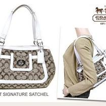 Auth New Nwt Coach 14934 Khaki/white Signature Cricket Satchel Tote Purse Photo