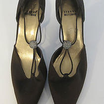 Auth. Nwob Stuart Weitzman Brown Satin Swarovski Crystal d'orsay Heels  Us 8.5 Photo