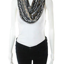Auth Nwt Missoni Orange Label Beige Black White Wool Chevron Knit Infinity Scarf Photo